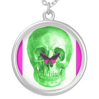 GREEN SKULL WITH PINK BUTTERFLY NOSE ROUND PENDANT NECKLACE