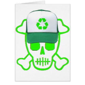 Green Skull with Recycle Hat Card