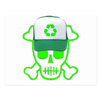 Green Skull with Recycle Hat Postcard