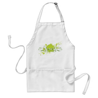 Green Skull with Swirls and Splatters Apron