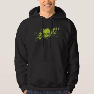 Green Skull with Swirls and Splatters Hoodie