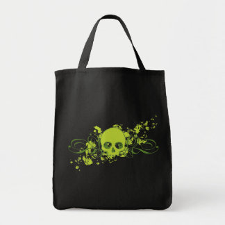 Green Skull with Swirls and Splatters Tote Bag
