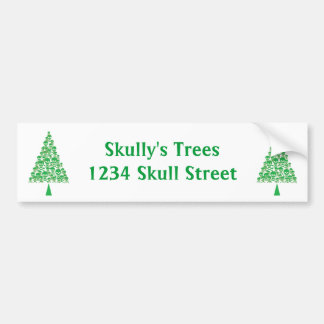 Green Skull Xmas Tree Bumper Stickers