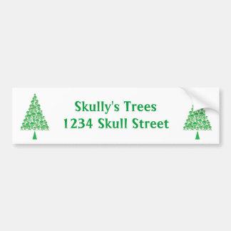 Green Skull Xmas Tree Bumper Sticker