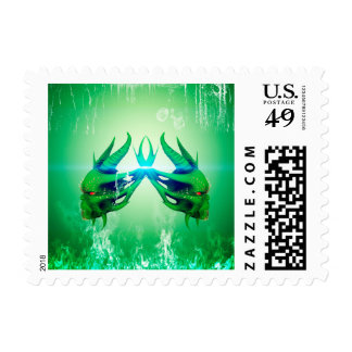 Green skulls stamp