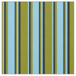 [ Thumbnail: Green, Sky Blue & Black Colored Lines Pattern Fabric ]