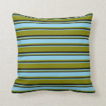 [ Thumbnail: Green, Sky Blue & Black Colored Lines Pattern Throw Pillow ]