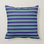 [ Thumbnail: Green, Sky Blue, Black, Light Cyan & Midnight Blue Throw Pillow ]