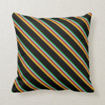 [ Thumbnail: Green, Sky Blue, Brown, Goldenrod, and Black Throw Pillow ]