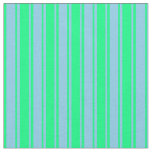 [ Thumbnail: Green & Sky Blue Colored Lines Fabric ]