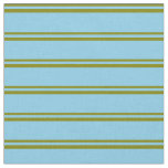 [ Thumbnail: Green & Sky Blue Colored Pattern of Stripes Fabric ]
