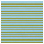 [ Thumbnail: Green & Sky Blue Colored Stripes Fabric ]