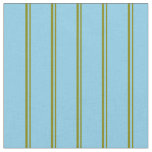 [ Thumbnail: Green & Sky Blue Colored Stripes Pattern Fabric ]