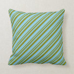[ Thumbnail: Green & Sky Blue Colored Stripes Throw Pillow ]