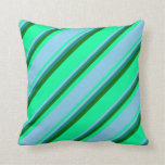 [ Thumbnail: Green, Sky Blue, Dark Cyan, and Dark Green Colored Throw Pillow ]