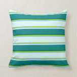 [ Thumbnail: Green, Sky Blue, Light Cyan, Teal & Dark Green Throw Pillow ]