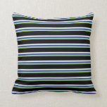 [ Thumbnail: Green, Sky Blue, Midnight Blue, Mint Cream & Black Throw Pillow ]