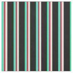 [ Thumbnail: Green, Sky Blue, Red, Light Cyan & Black Colored Fabric ]
