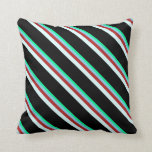 [ Thumbnail: Green, Sky Blue, Red, Light Cyan & Black Colored Throw Pillow ]