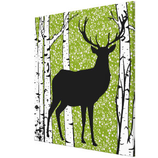 Green Sky Buck Deer Birch Forest Wrapped Canvas