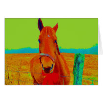 Green sky , red bow Horse : add name Card