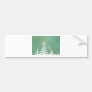 Green Sky White Snowy Christmas Trees Bumper Sticker