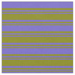 [ Thumbnail: Green & Slate Blue Colored Pattern of Stripes Fabric ]