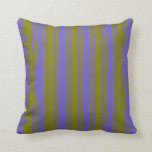 [ Thumbnail: Green & Slate Blue Colored Pattern of Stripes Throw Pillow ]