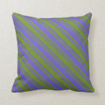 [ Thumbnail: Green & Slate Blue Pattern Throw Pillow ]