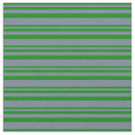 [ Thumbnail: Green & Slate Gray Pattern of Stripes Fabric ]