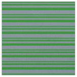[ Thumbnail: Green & Slate Gray Pattern of Stripes Fabric ]
