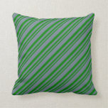 [ Thumbnail: Green & Slate Gray Pattern of Stripes Throw Pillow ]