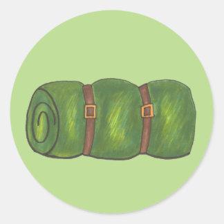 Green Sleeping Bag Summer Sleepaway Camp Hiking Classic Round Sticker