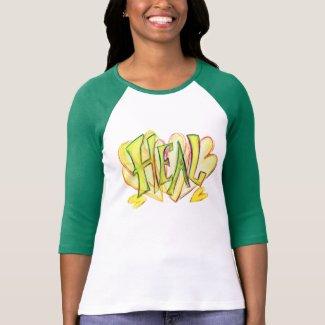 Green Sleeved Inspirational Word Heal Art Shirt
