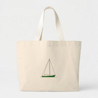 Green Sloop Sailboat Jumbo Tote Bag