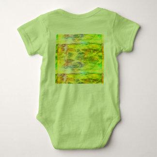 green smeared baby bodysuit