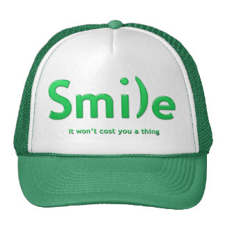 Green Smile Ascii Text Hat