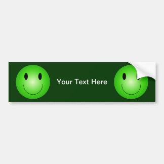 Green Smiley Car Bumper Sticker