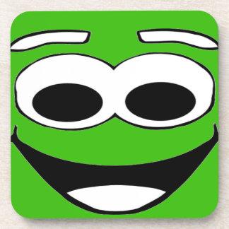 Green Smiley Cartoon Face Beverage Coaster