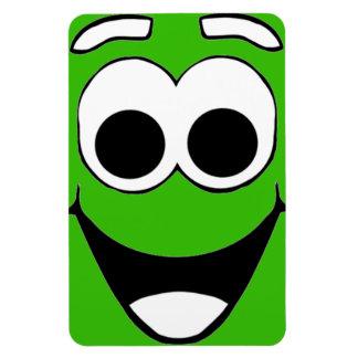 Green Smiley Cartoon Face Magnet
