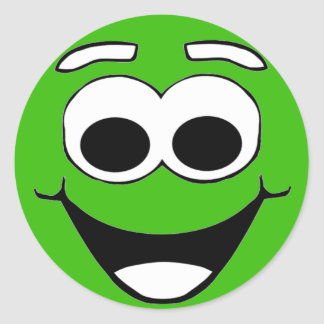 Green Smiley Cartoon Face Classic Round Sticker