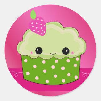 Green Smiley Cupcake Classic Round Sticker