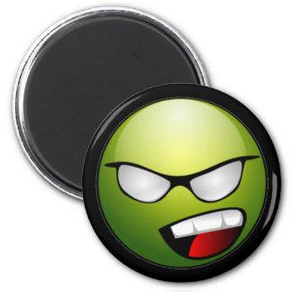 Green Smiley Face Black Magnet