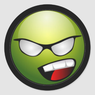 Green Smiley Face Black Stickers