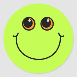Green Smiley Face Classic Round Sticker