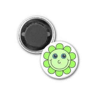 Green Smiley Face Flower Magnet
