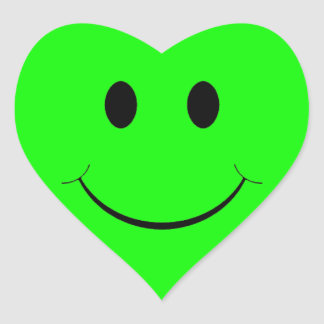 Green Smiley Face Heart Stickers