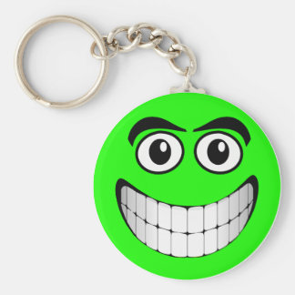 Green Smiley Face Keychain