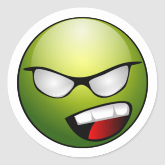 Green Smiley Face Stickers
