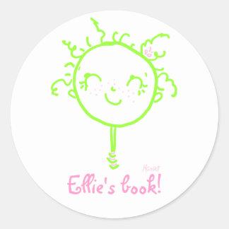 green smiley girl bookplate classic round sticker
